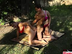 Two horny BBW have sex sandwich threesome with young man