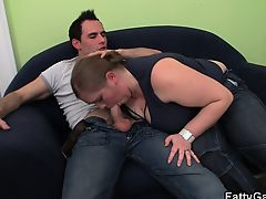 Big belly fatty sucking and riding strangers cock