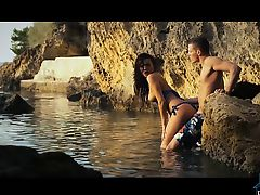Hot couple having oral sex before fucking outdoor in a cove