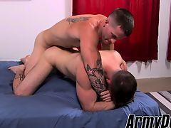 Army dude Mathias gives his virgin ass to hung major Quentin