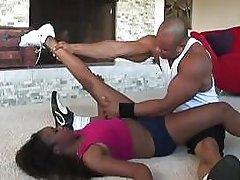 Ebony pornstar takes a monster