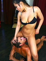 Mistress pees onto her slave's face before letting him lick her wet smelly clam and dirty feet