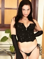 Dark haired Tgirl pulling her pud in hot solo action