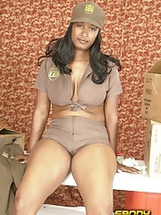 A hottie peels off her uniform to show off her black ass