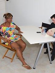 Ebony hottie fucks a white guy to get into a rap video