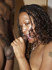 Horny black babe getting pounded hard in bed