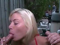 Slutty Blonde Exgf Sucks 2 Dicks at the Party