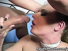 Busty Blonde Riley Evans sucks fat cock then gets cum in mouth