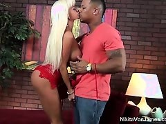 Nikita gets some interracial loving from a big black dick