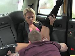 FakeTaxi Swingers couple get it on in taxi