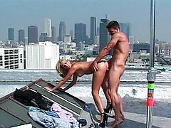 Wet orgasm on the rooftop