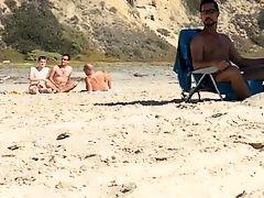 Caught three guys jerking at the nude beach