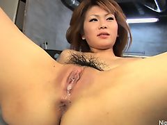 Asian girl\'s tight pussy is poked, played with and creamed
