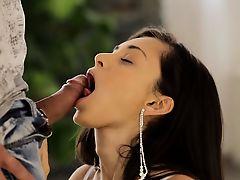 A seductive glance nets juicy babe Sabi a man to pleasure