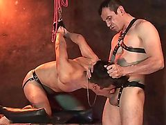 Bound and blindfolded boy face fucked on his
