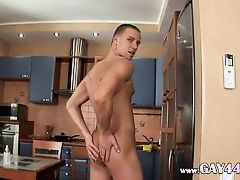 Ken masturbating penis in the kitchen