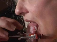 Busty german slave Melanie Moons tounge tied tit torture and rough hardcore