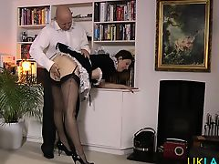 Older british maid toying