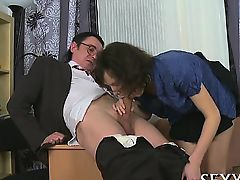 Chick is getting her slit ravished by teacher on the couch
