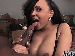 Intense blowjob session with an ebony looker